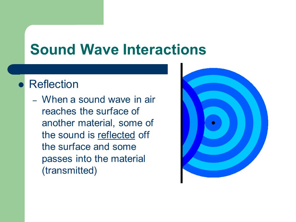 Sound Wave Interactions Reflection – When a sound wave in air reaches the surface of another material, some of the sound is reflected off the surface and some passes into the material (transmitted)