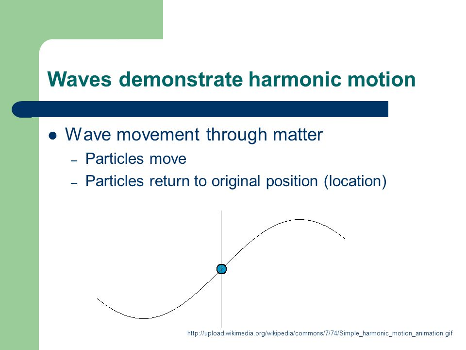 Waves demonstrate harmonic motion Wave movement through matter – Particles move – Particles return to original position (location) http://upload.wikimedia.org/wikipedia/commons/7/74/Simple_harmonic_motion_animation.gif
