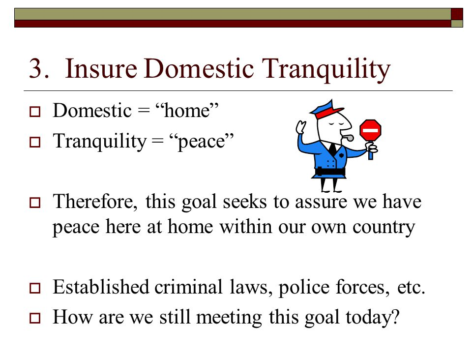 """3. Insure Domestic Tranquility  Domestic = """"home""""  Tranquility = """"peace""""  Therefore, this goal seeks to assure we have peace here at home within ou"""