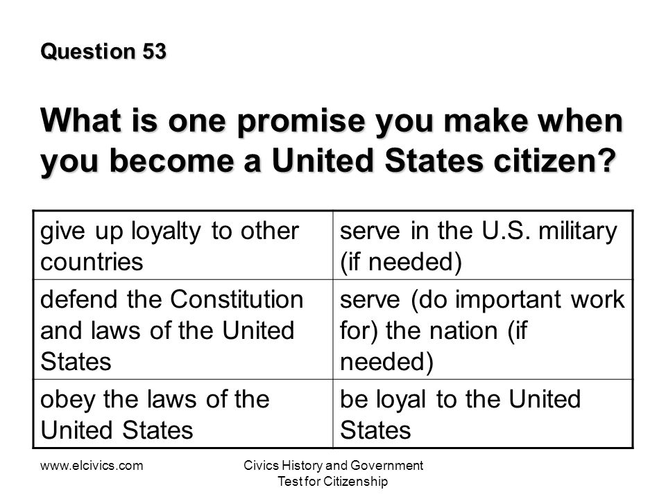 www.elcivics.comCivics History and Government Test for Citizenship Question 53 What is one promise you make when you become a United States citizen.