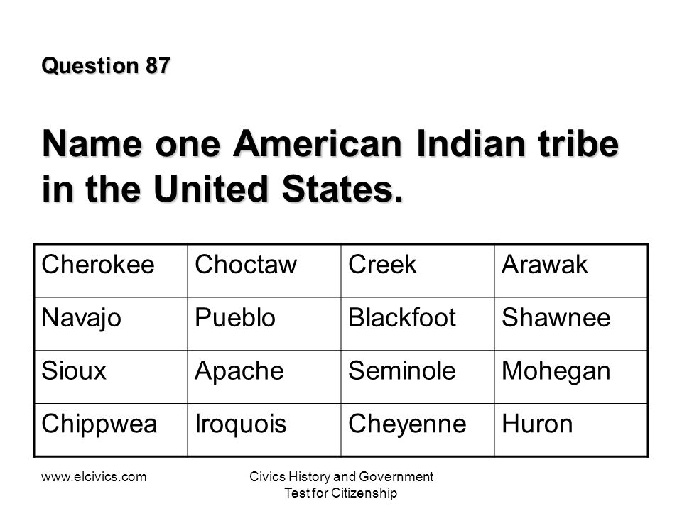 www.elcivics.comCivics History and Government Test for Citizenship Question 87 Name one American Indian tribe in the United States.