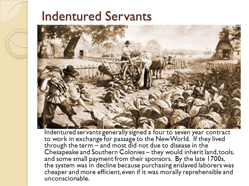 Indentured Servants Indentured servants generally signed a four to seven year contract to work in exchange for passage to the New World.