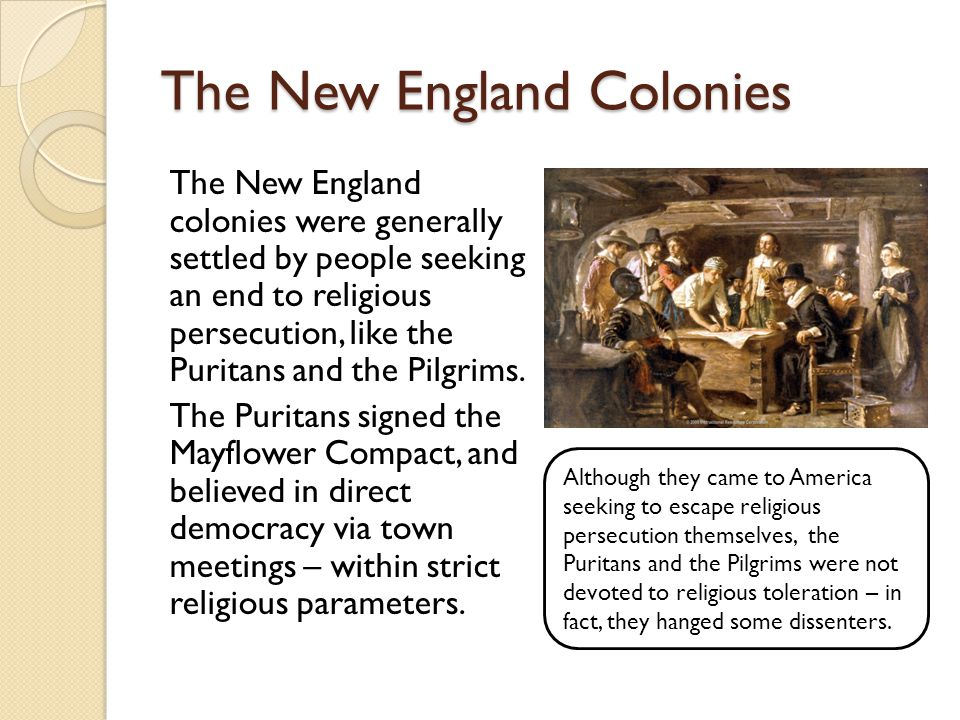 The New England Colonies The New England colonies were generally settled by people seeking an end to religious persecution, like the Puritans and the Pilgrims.