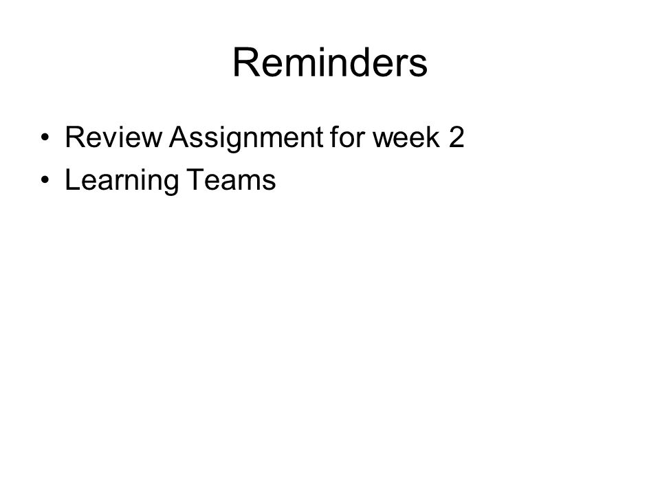 Reminders Review Assignment for week 2 Learning Teams
