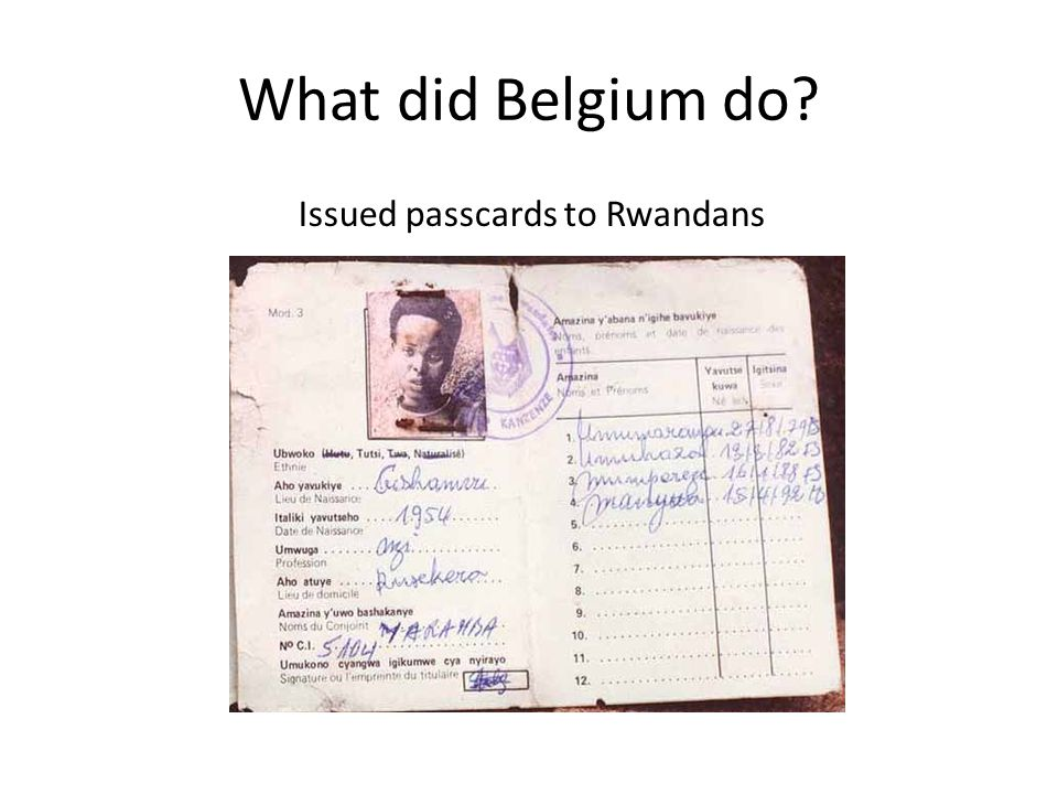 What did Belgium do Issued passcards to Rwandans