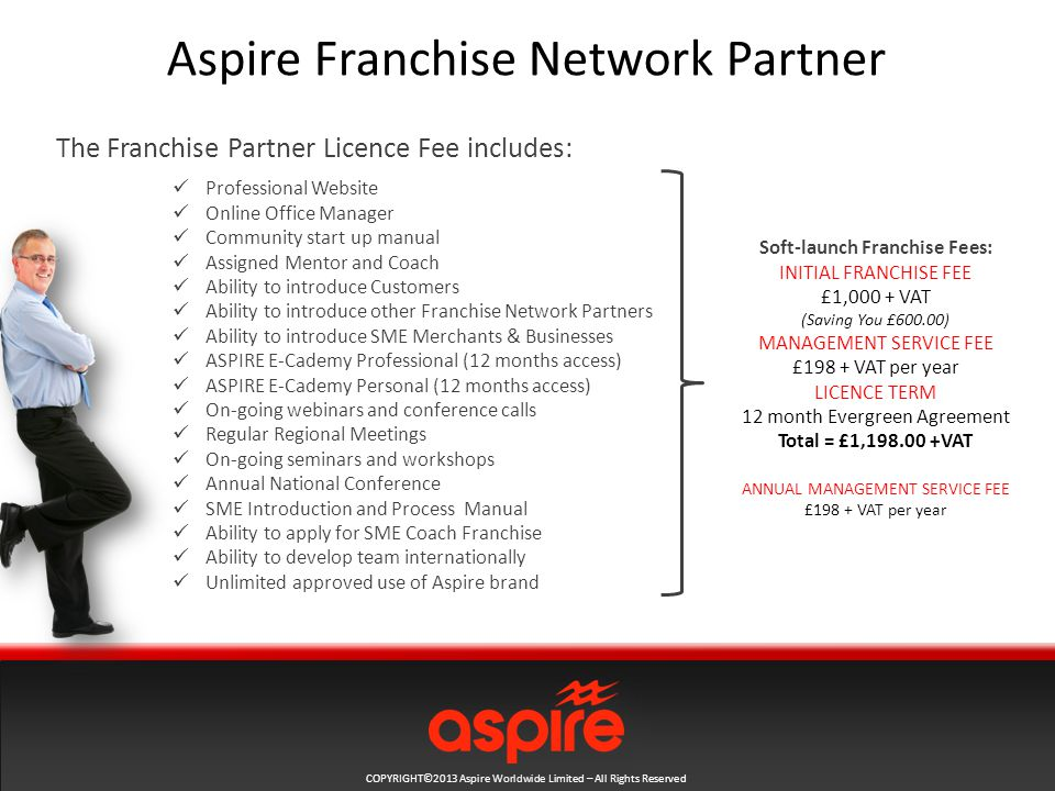 COPYRIGHT©2013 Aspire Worldwide Limited – All Rights Reserved Aspire Franchise Network Partner Professional Website Online Office Manager Community start up manual Assigned Mentor and Coach Ability to introduce Customers Ability to introduce other Franchise Network Partners Ability to introduce SME Merchants & Businesses ASPIRE E-Cademy Professional (12 months access) ASPIRE E-Cademy Personal (12 months access) On-going webinars and conference calls Regular Regional Meetings On-going seminars and workshops Annual National Conference SME Introduction and Process Manual Ability to apply for SME Coach Franchise Ability to develop team internationally Unlimited approved use of Aspire brand The Franchise Partner Licence Fee includes: Soft-launch Franchise Fees: INITIAL FRANCHISE FEE £1,000 + VAT (Saving You £600.00) MANAGEMENT SERVICE FEE £198 + VAT per year LICENCE TERM 12 month Evergreen Agreement Total = £1, VAT ANNUAL MANAGEMENT SERVICE FEE £198 + VAT per year