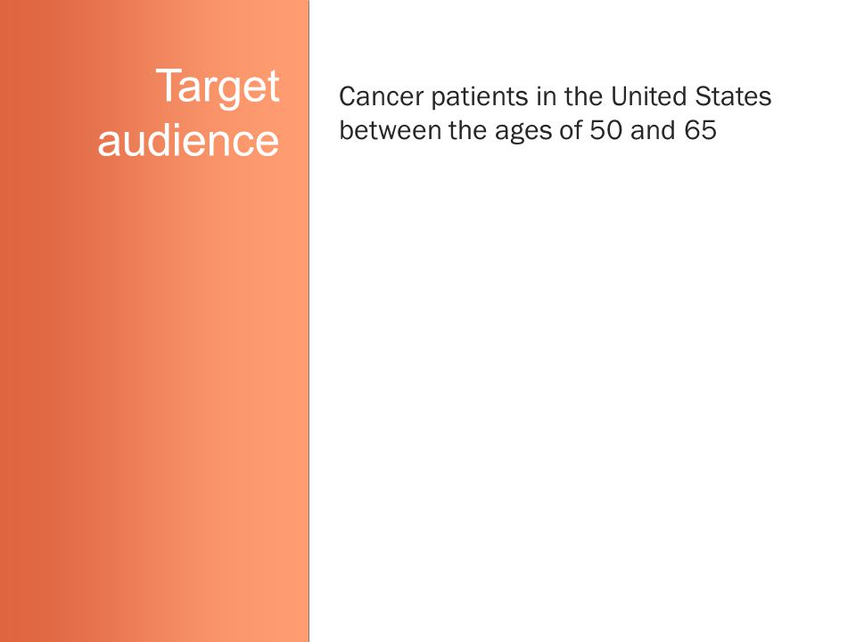 Target audience Cancer patients in the United States between the ages of 50 and 65