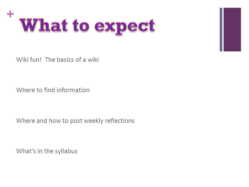 + Wiki fun! The basics of a wiki Where to find information Where and how to post weekly reflections What's in the syllabus