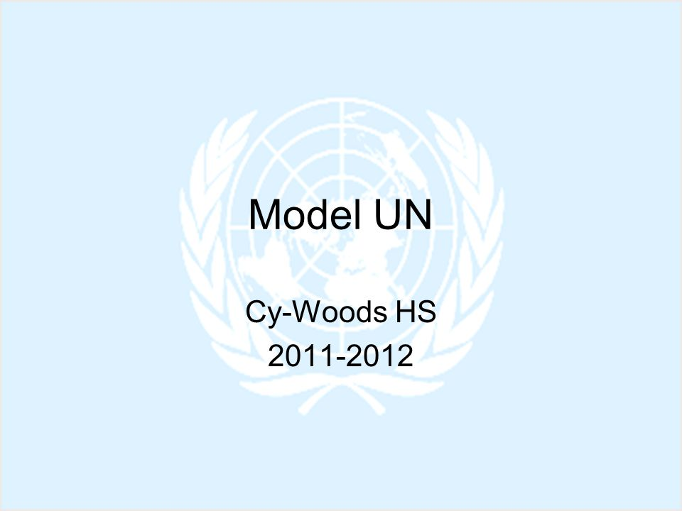 Model UN You and your group will be assigned a country to represent.