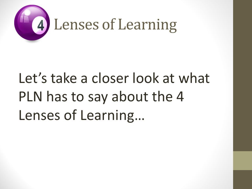 Let's take a closer look at what PLN has to say about the 4 Lenses of Learning…