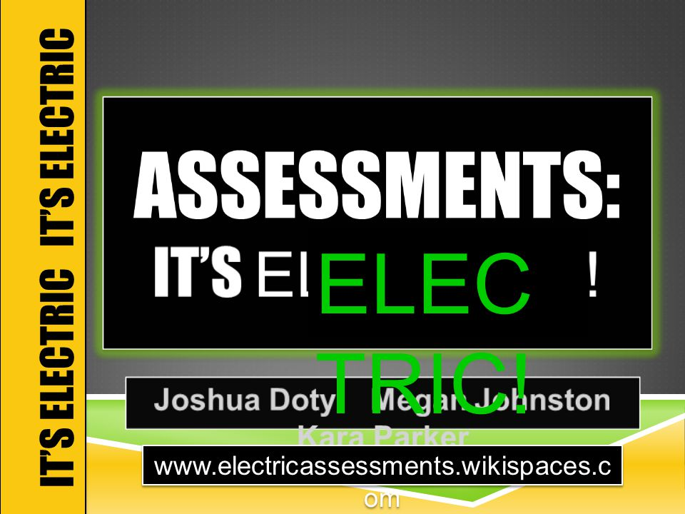 IT'S ELECTRIC ELEC TRIC! www.electricassessments.wikispaces.c om