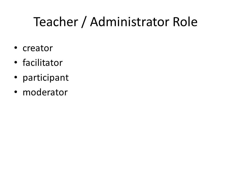 Teacher / Administrator Role creator facilitator participant moderator