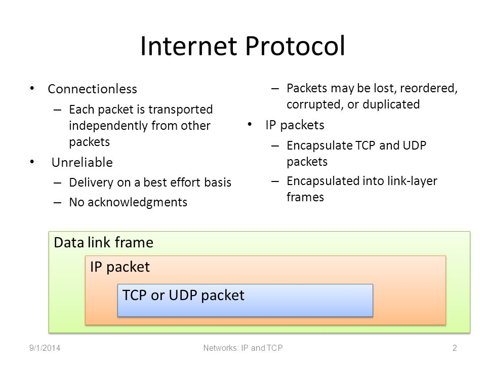 Internet Protocol Connectionless – Each packet is transported independently from other packets Unreliable – Delivery on a best effort basis – No acknowledgments – Packets may be lost, reordered, corrupted, or duplicated IP packets – Encapsulate TCP and UDP packets – Encapsulated into link-layer frames 9/1/2014Networks: IP and TCP2 Data link frame IP packet TCP or UDP packet