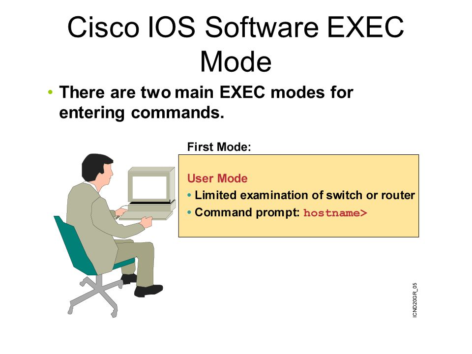 There are two main EXEC modes for entering commands. Cisco IOS Software EXEC Mode