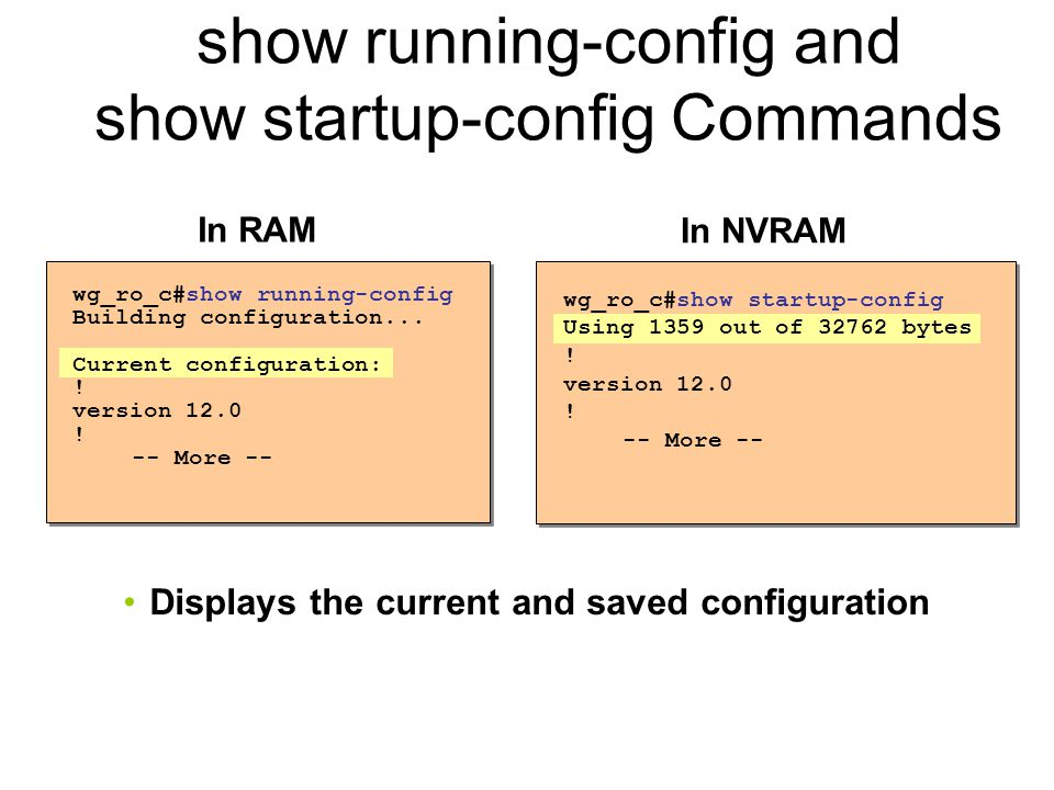 show running-config and show startup-config Commands wg_ro_c#show startup-config Using 1359 out of bytes .