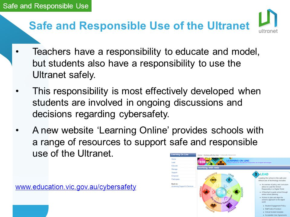 Teachers have a responsibility to educate and model, but students also have a responsibility to use the Ultranet safely.
