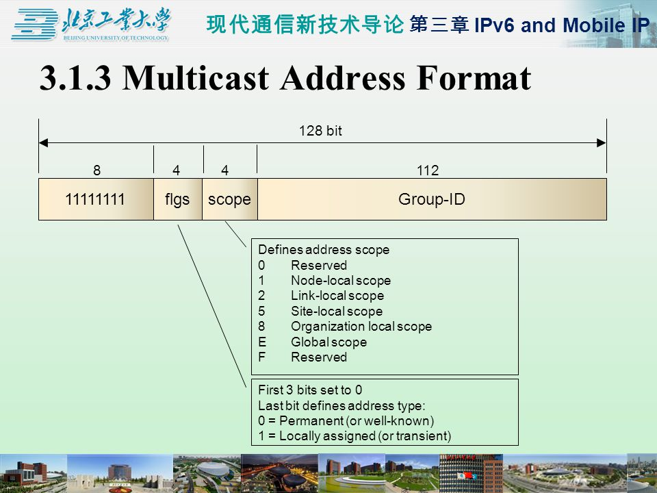 现代通信新技术导论 第三章 IPv6 and Mobile IP 3.1.3 Multicast Address Format Group-ID11111111flgs 84112 128 bit scope 4 First 3 bits set to 0 Last bit defines address type: 0 = Permanent (or well-known) 1 = Locally assigned (or transient) Defines address scope 0Reserved 1Node-local scope 2Link-local scope 5Site-local scope 8Organization local scope EGlobal scope FReserved