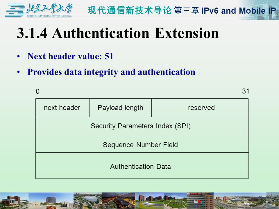 现代通信新技术导论 第三章 IPv6 and Mobile IP 3.1.4 Authentication Extension Next header value: 51 Provides data integrity and authentication 0 31 next headerPayload lengthreserved Security Parameters Index (SPI) Sequence Number Field Authentication Data