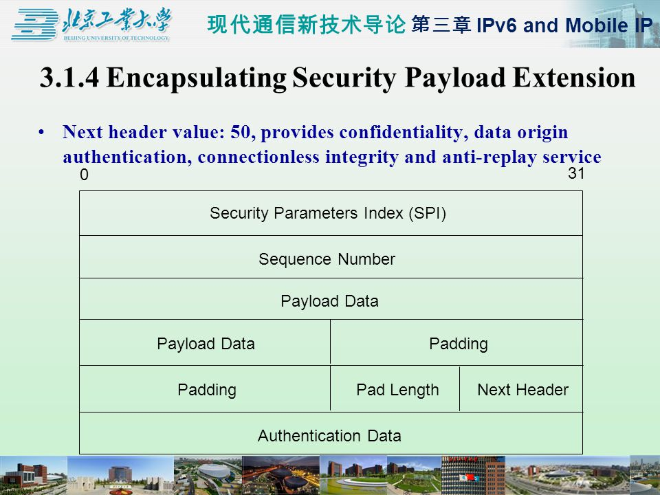 现代通信新技术导论 第三章 IPv6 and Mobile IP 3.1.4 Encapsulating Security Payload Extension Next header value: 50, provides confidentiality, data origin authentication, connectionless integrity and anti-replay service 0 31 Security Parameters Index (SPI) Sequence Number Payload Data Padding Pad LengthNext Header Authentication Data
