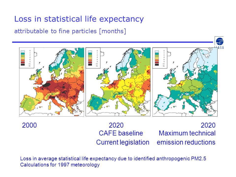 Loss in statistical life expectancy attributable to fine particles [months] Loss in average statistical life expectancy due to identified anthropogeni