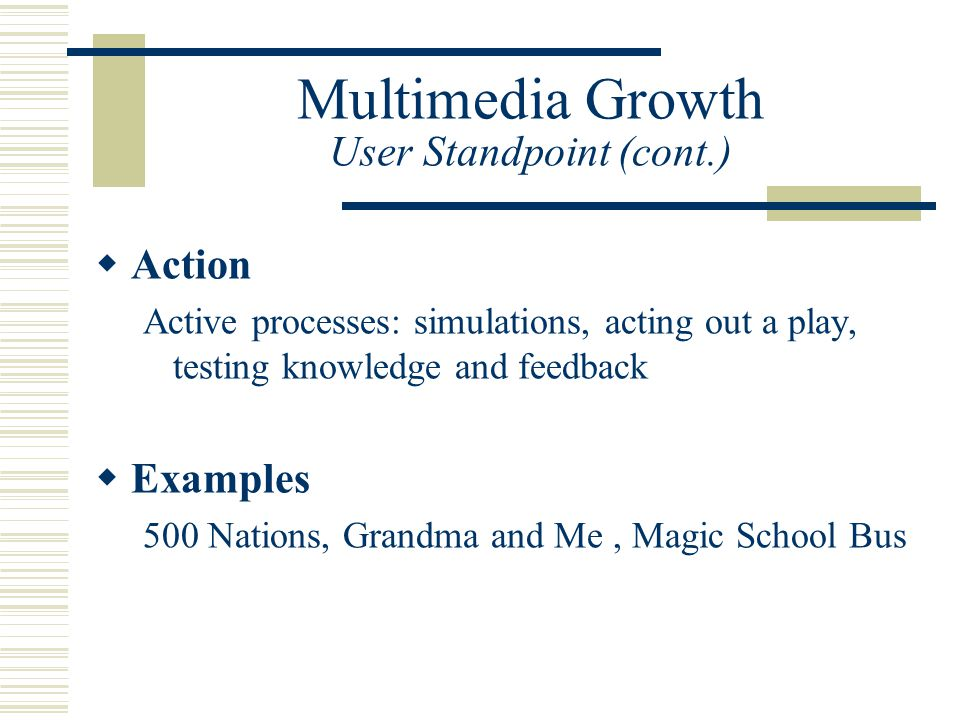 Multimedia Growth User Standpoint (cont.)  Action Active processes: simulations, acting out a play, testing knowledge and feedback  Examples 500 Nations, Grandma and Me, Magic School Bus
