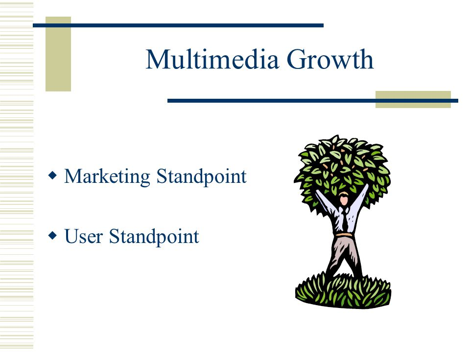 Multimedia Growth Marketing Standpoint  Computer price 1992 – 1 mil - $2,500 or $1,000 upgrade 1996 – 24 mil - $1,500 or $300 upgrade  Multimedia titles 1992 – 5,000 - $100 1996 – 15,000 - $30  Hype - killer applications  Value added – enhances computer use