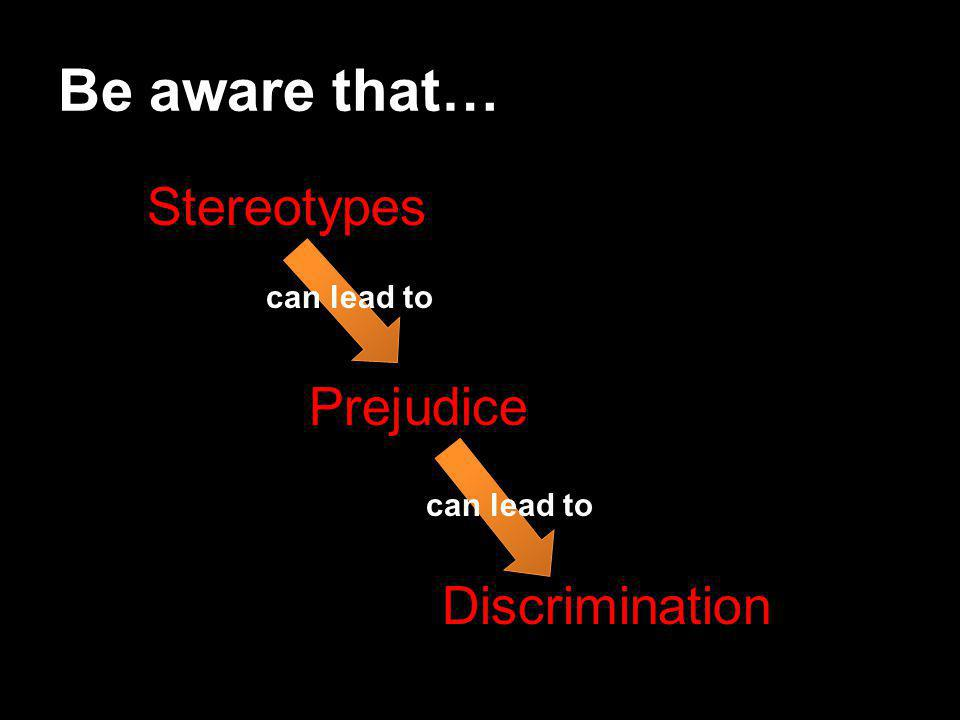 Be aware that… Stereotypes Prejudice Discrimination can lead to