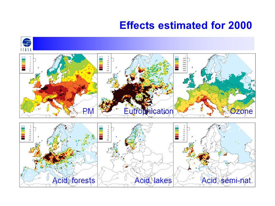 Effects estimated for 2000 PMEutrophicationOzone Acid, forestsAcid, lakesAcid, semi-nat.