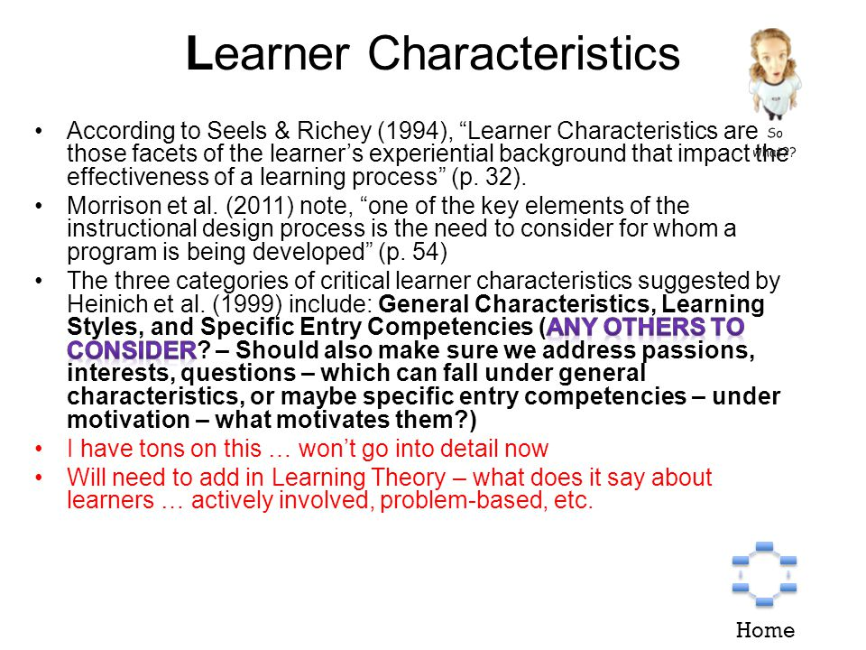 Learner Characteristics Home