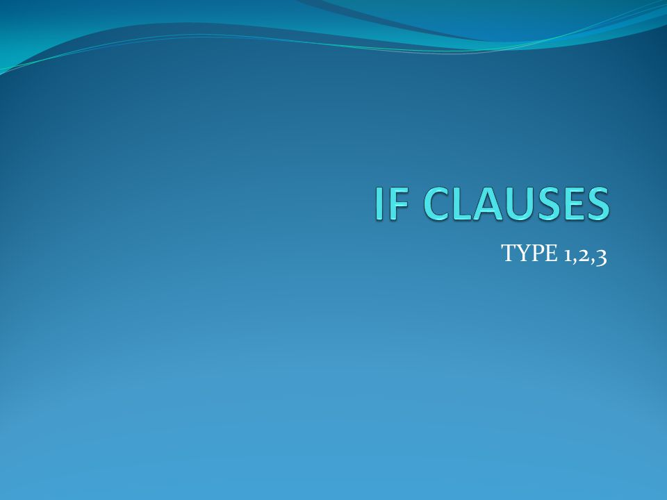 TYPE 1 If clause Habit e.g.