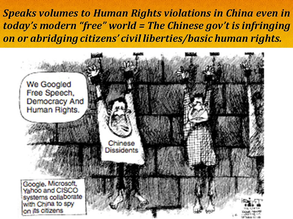 """Speaks volumes to Human Rights violations in China even in today's modern """"free"""" world = The Chinese gov't is infringing on or abridging citizens' civ"""