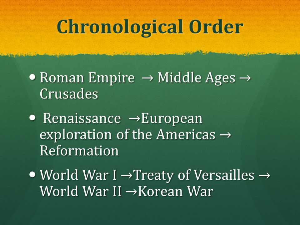 Chronological Order Roman Empire → Middle Ages → Crusades Roman Empire → Middle Ages → Crusades Renaissance →European exploration of the Americas → Re