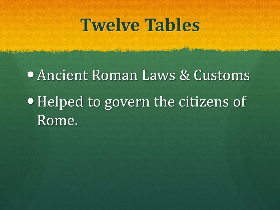 Twelve Tables Ancient Roman Laws & Customs Ancient Roman Laws & Customs Helped to govern the citizens of Rome. Helped to govern the citizens of Rome.