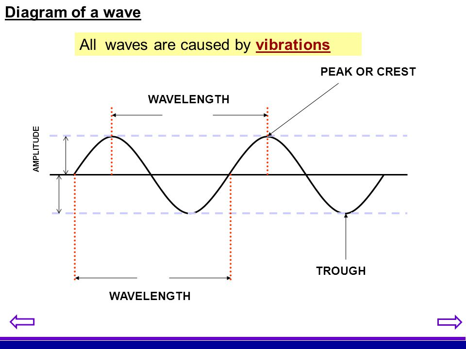 Diagram of a wave WAVELENGTH PEAK OR CREST TROUGH AMPLITUDE All waves are caused by vibrations