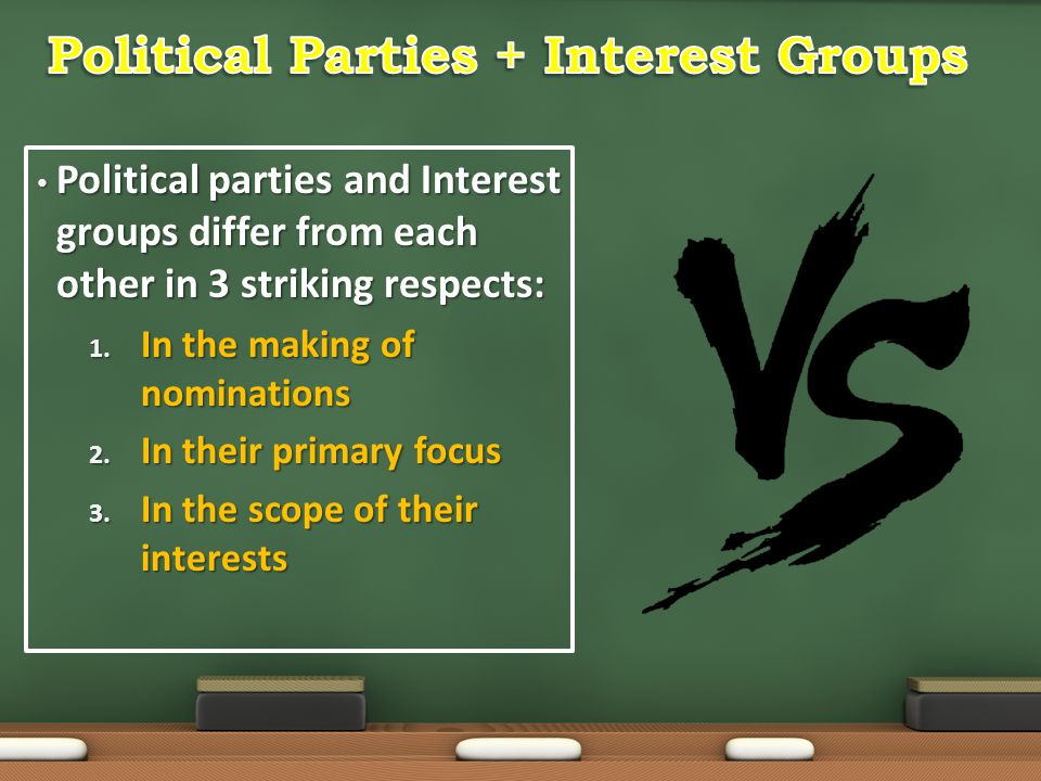 Political parties and Interest groups differ from each other in 3 striking respects: Political parties and Interest groups differ from each other in 3