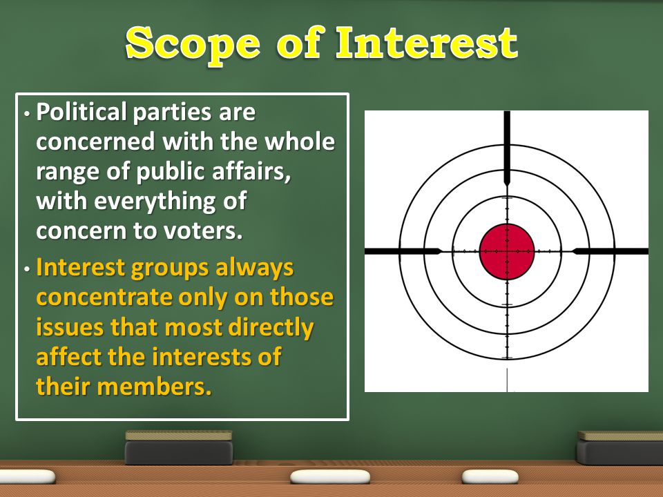 Political parties are concerned with the whole range of public affairs, with everything of concern to voters. Political parties are concerned with the