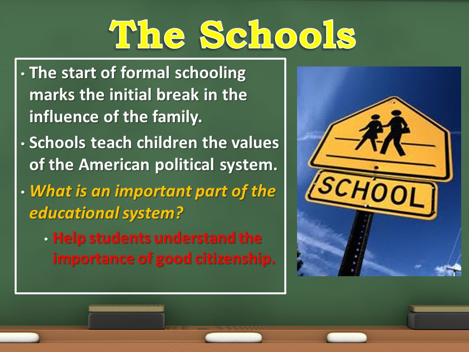The start of formal schooling marks the initial break in the influence of the family. The start of formal schooling marks the initial break in the inf