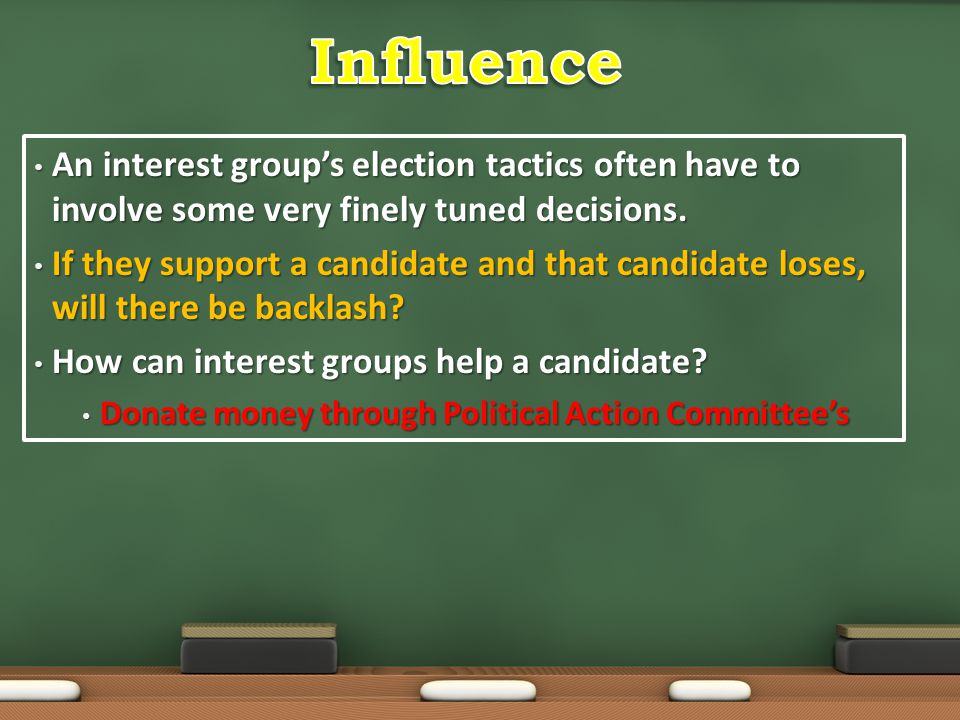 An interest group's election tactics often have to involve some very finely tuned decisions. An interest group's election tactics often have to involv