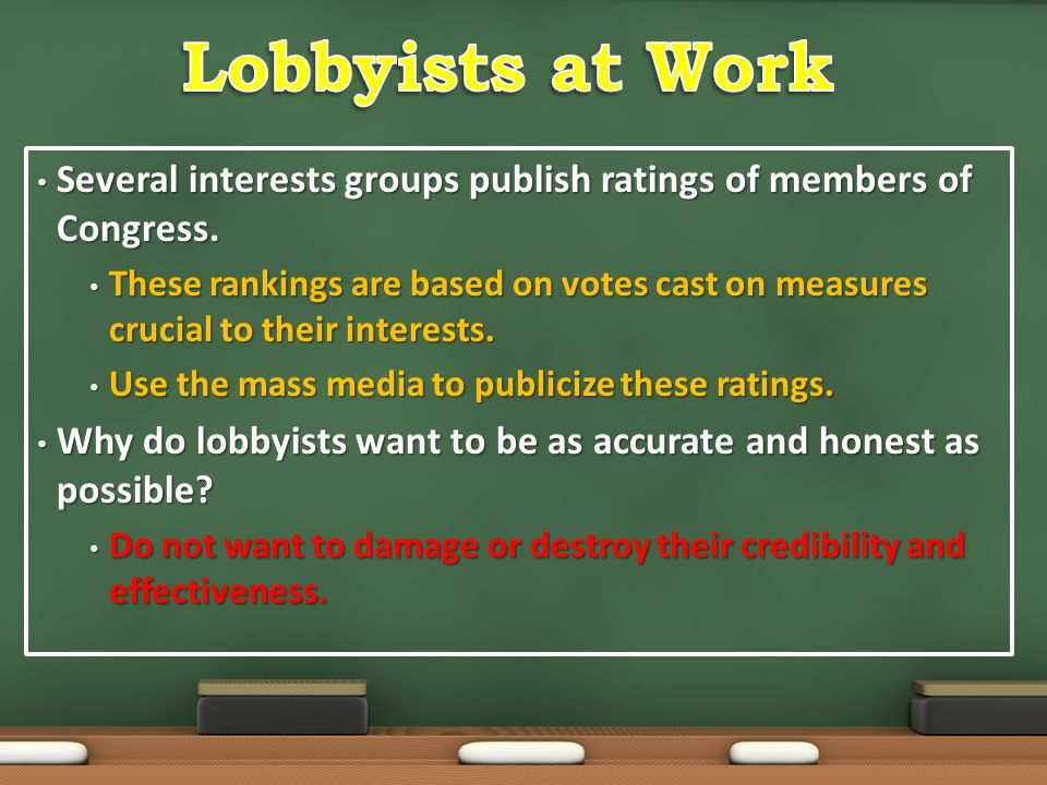 Several interests groups publish ratings of members of Congress. Several interests groups publish ratings of members of Congress. These rankings are b