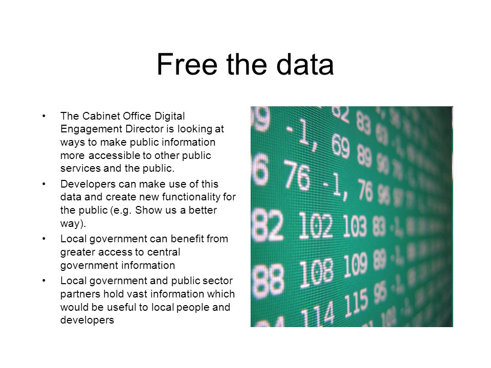 Free the data The Cabinet Office Digital Engagement Director is looking at ways to make public information more accessible to other public services and the public.