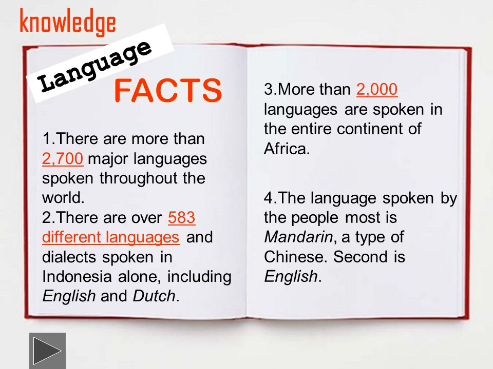 1.There are more than 2,700 major languages spoken throughout the world.