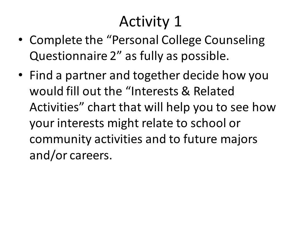 Activity # 2: Building Your Résumé & Getting Involved.
