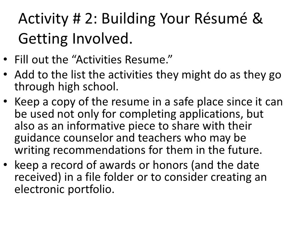 Activity # 3: Understanding the Big Picture Read College Planning Checklist carefully, and put check marks where appropriate.