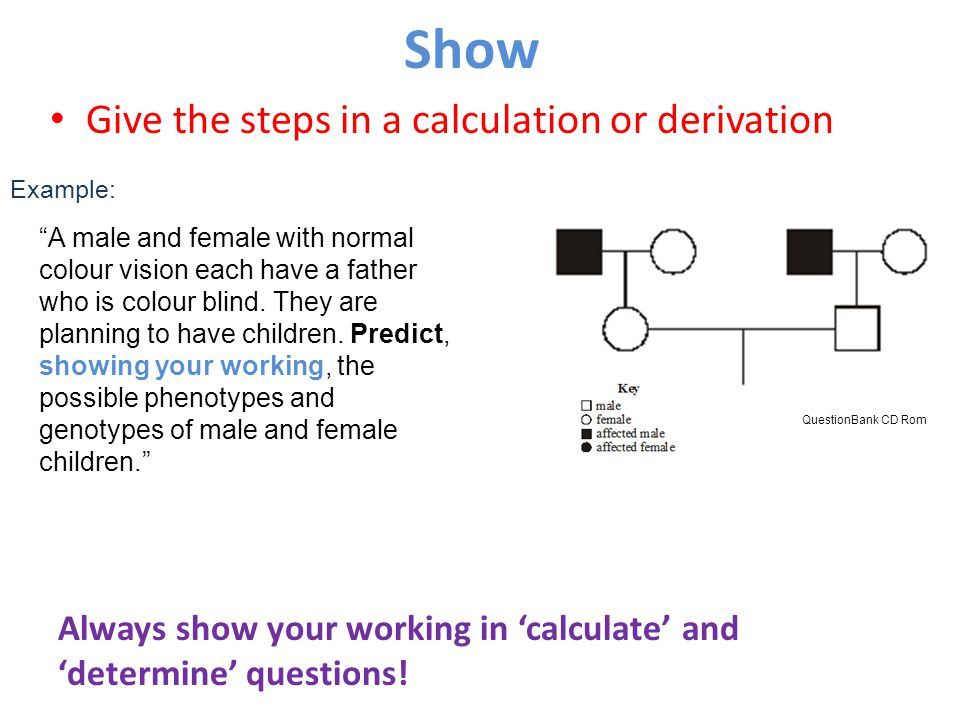 "Show Give the steps in a calculation or derivation Example: ""A male and female with normal colour vision each have a father who is colour blind. They"