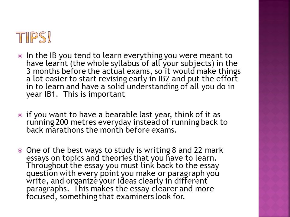  In the IB you tend to learn everything you were meant to have learnt (the whole syllabus of all your subjects) in the 3 months before the actual exams, so it would make things a lot easier to start revising early in IB2 and put the effort in to learn and have a solid understanding of all you do in year IB1.