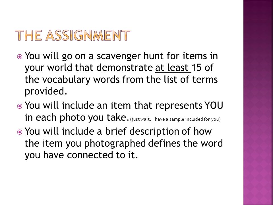  You will go on a scavenger hunt for items in your world that demonstrate at least 15 of the vocabulary words from the list of terms provided.