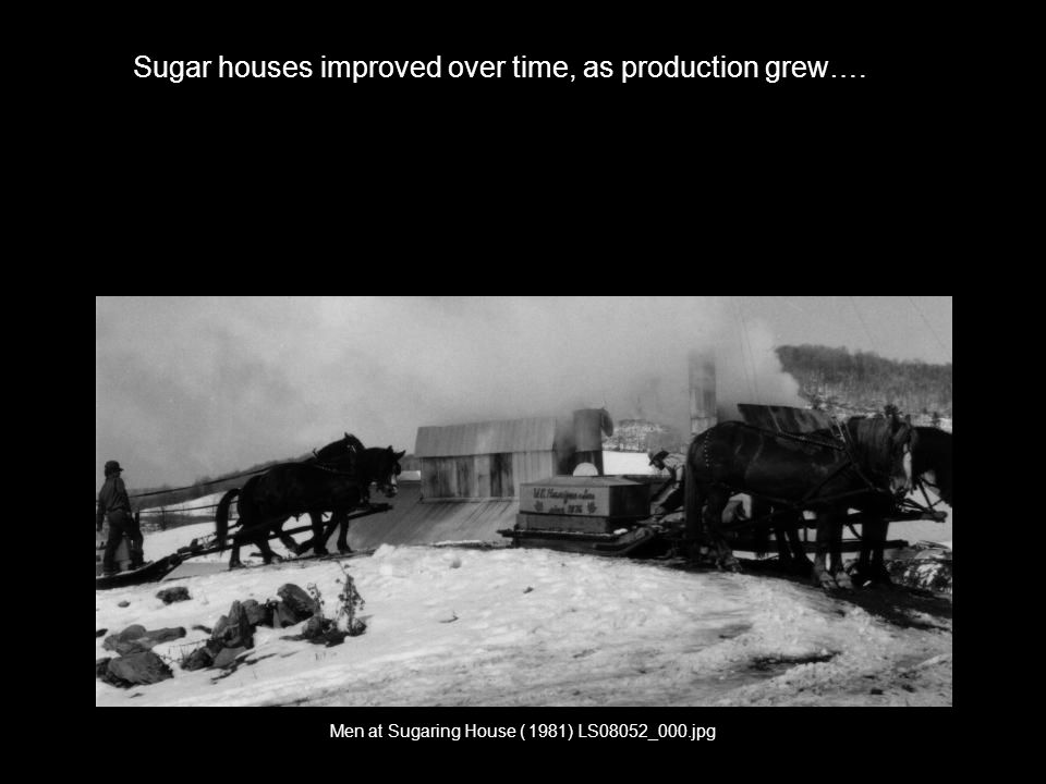 Sales and Marketing Needs Men at Sugaring House ( 1981) LS08052_000.jpg Sugar houses improved over time, as production grew….