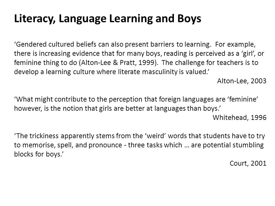 'Gendered cultured beliefs can also present barriers to learning.