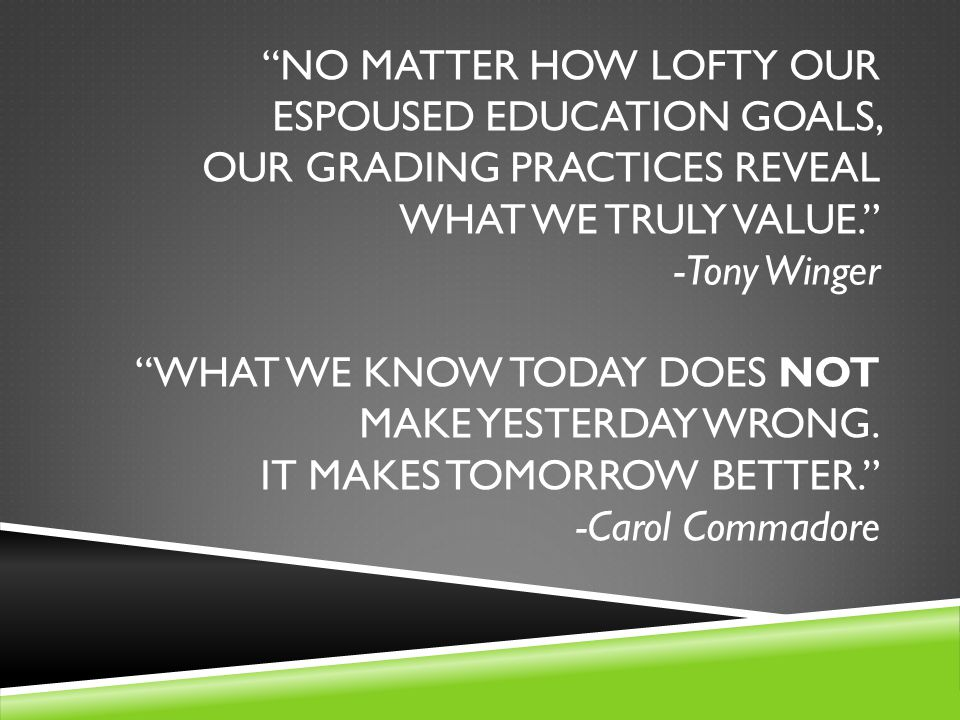 NO MATTER HOW LOFTY OUR ESPOUSED EDUCATION GOALS, OUR GRADING PRACTICES REVEAL WHAT WE TRULY VALUE. -Tony Winger WHAT WE KNOW TODAY DOES NOT MAKE YESTERDAY WRONG.