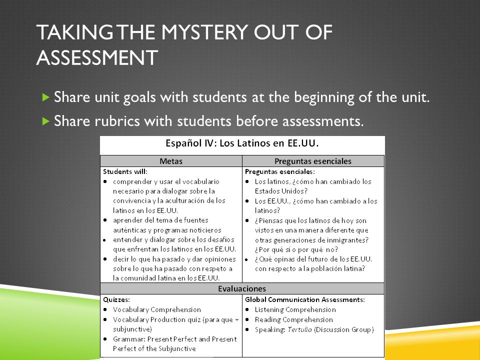 TAKING THE MYSTERY OUT OF ASSESSMENT  Share unit goals with students at the beginning of the unit.
